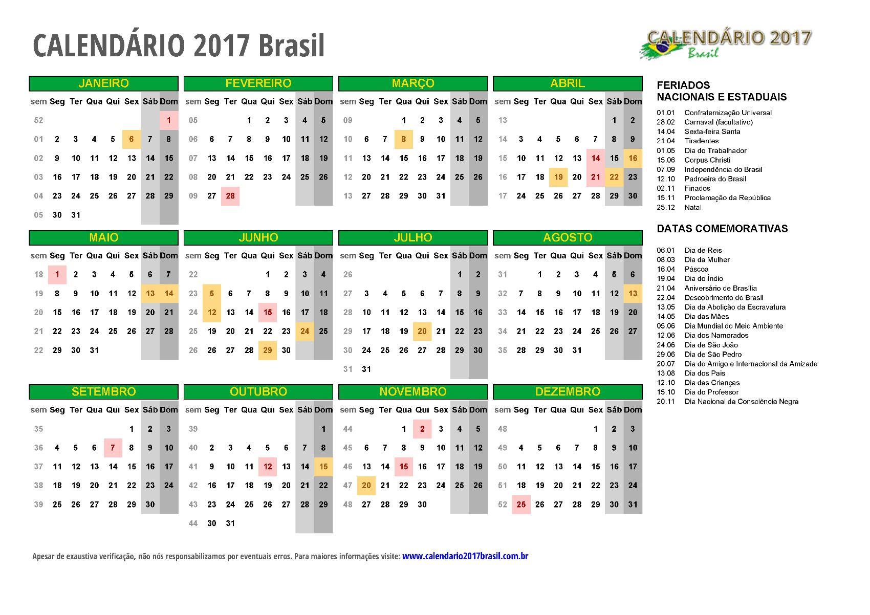 Calendário 2017 para imprimir – Brasil e todos os estados