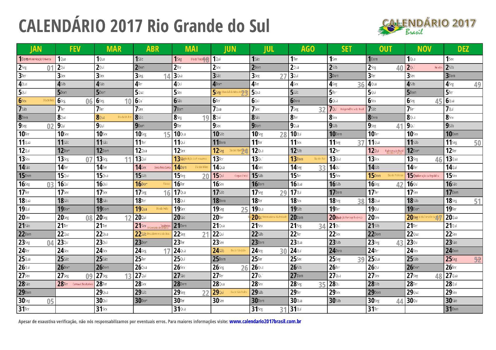Calendario 20017.Calendario 2017 Para Imprimir Com Feriados