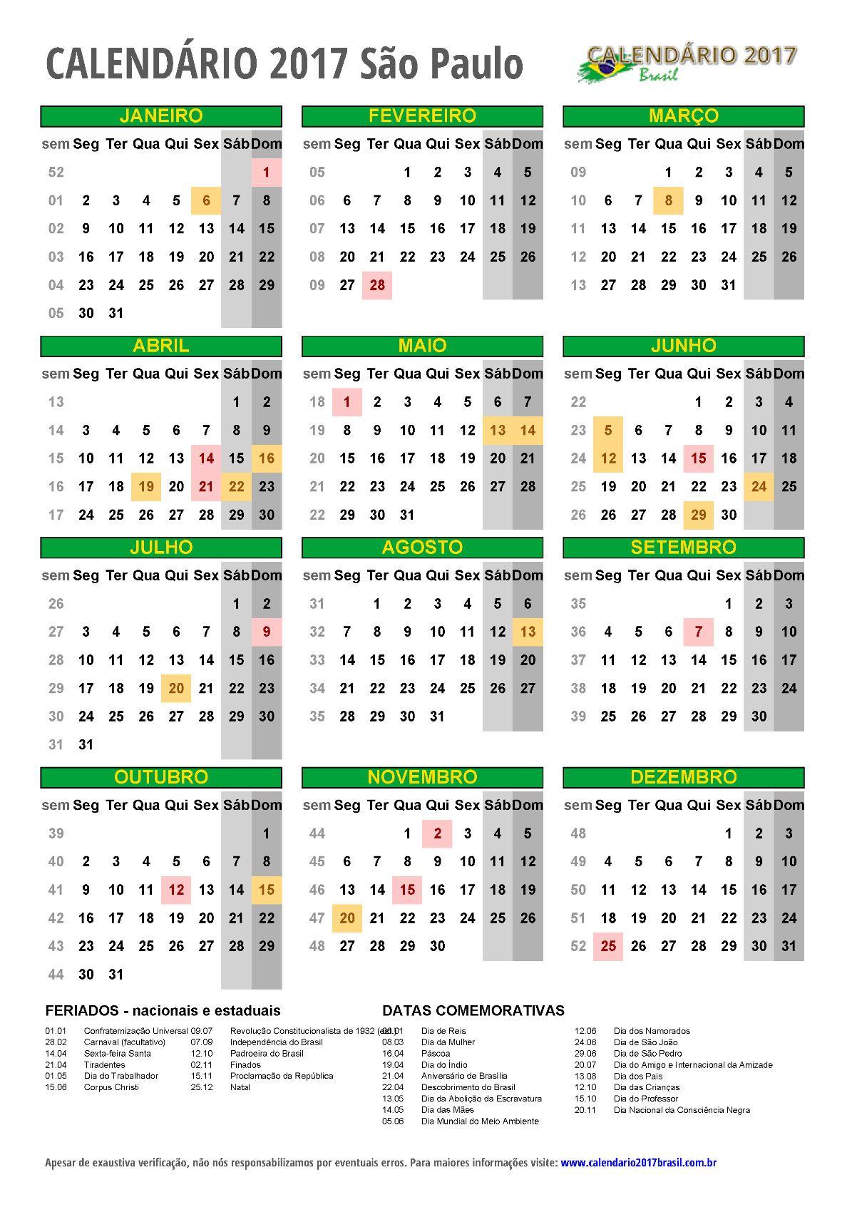 Calendário 2017 para imprimir brasil e todos os estados