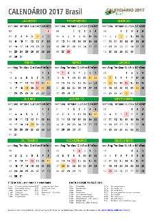 Calendário 2017 Brasil