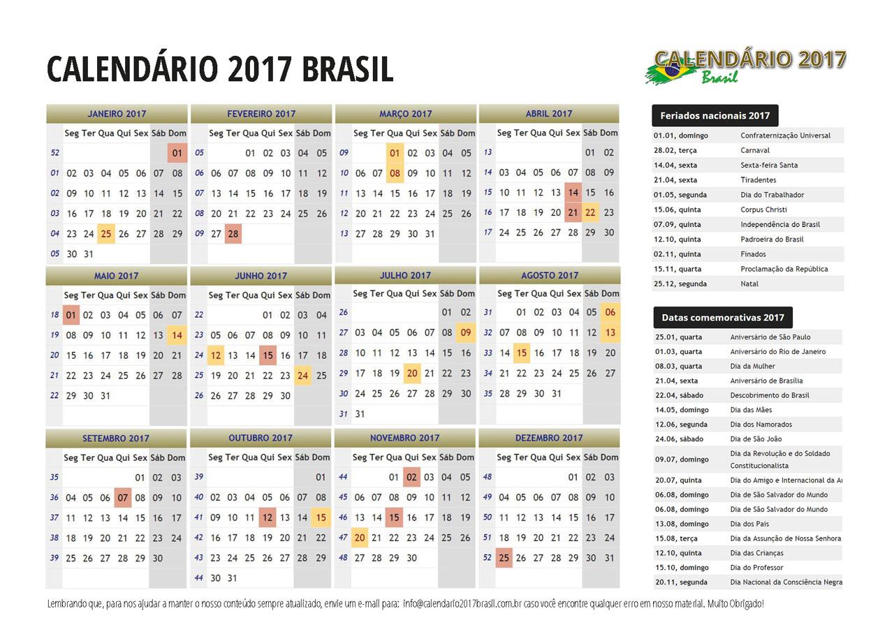 Calendario 2017 Com Feriados Todos Os Estados